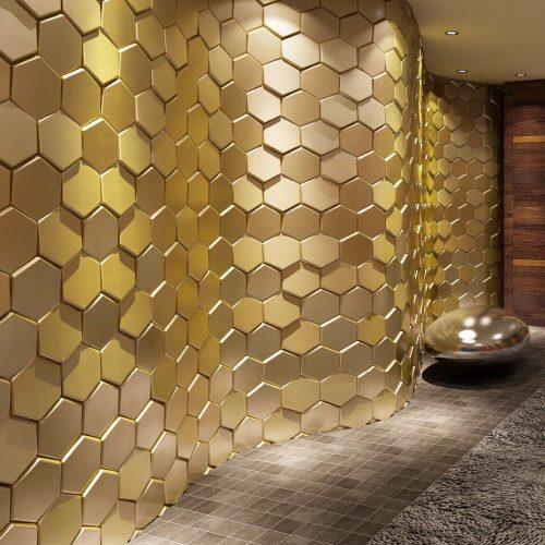 3D hex metalic tile